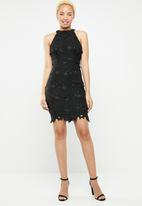 Missguided - Halter neck lace mini dress - black