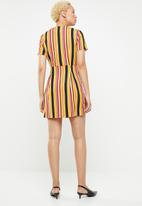 Missguided - Striped button detail midi dress - multi