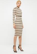 Sissy Boy - Midi dress with polo neck - neutral & black
