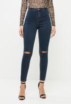 Missguided - Vice high waisted knee slash skinny jeans - blue