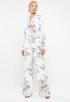 Missguided - Floral side tie top - white