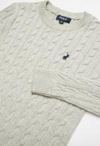 POLO - Jason long sleeve cable knit pullover - grey
