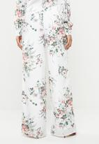 Missguided - Floral wide leg trousers - white