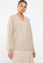 MANGO - Wool blend v-neck knit - beige