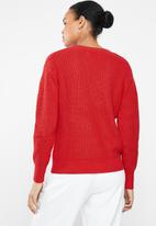 MANGO - Openwork v-neck knit - red