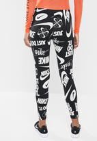 Nike - Legasee logo legging - black & white