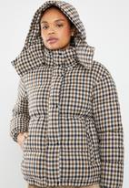 MANGO - Quilted check puffer jacket - blue & brown