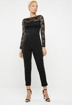 Sissy Boy - Lace bardot paperbag jumpsuit - black