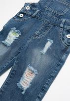 POP CANDY - Distressed denim dungaree - blue