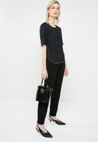 MANGO - Contrast trim short sleeve blouse - black