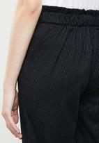 MANGO - Stripe paperbag trouser - navy