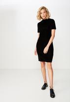 Cotton On - Anissa short sleeve bodycon midi dress  - black