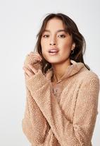 Cotton On - Blair button up polar fleece  - pink