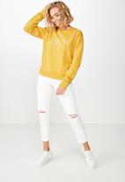 Cotton On - Ferguson graphic crew sweater  - yellow