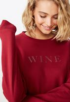 Cotton On - Ferguson graphic crew sweater  - red