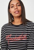 Cotton On - Ferguson graphic crew sweater  - black & white