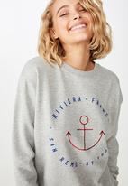 Cotton On - Ferguson graphic crew sweater  - grey