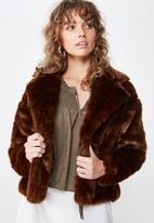 Cotton On - Hunter faux fur coat  - brown