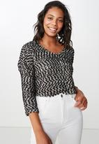 Cotton On - Stacey long sleeve texture top  - black