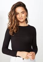 Cotton On - The girlfriend  long sleeve top  - black