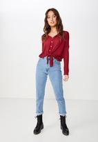Cotton On - Eliza textured tie hem cardi  - burgundy