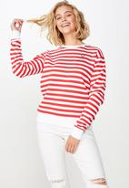 Cotton On - Ferguson graphic crew sweater - white & red
