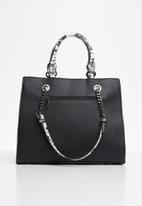 BLACKCHERRY - Snake print square tote bag -  multi
