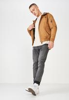 Cotton On - Hooded bomber jacket- tan