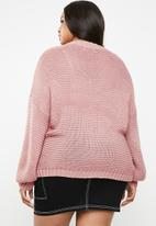 Missguided - Curve balloon sleeve cable jumper - pink