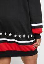 Missguided - Curve long sleeve USA sweat - black