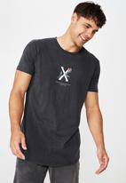 Cotton On - Longline scoop hem short sleeve tee - charcoal