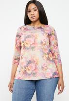 Plus-Fab - Floral mesh top - pink