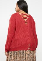 Brave Soul - V neck knit with back crossover detail - red