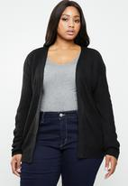 Brave Soul - Knit cardigan with lace tie detail - black