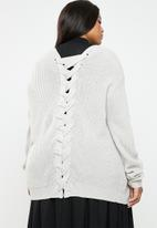 Brave Soul - Knit cardigan with lace tie detail - grey