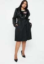 Brave Soul - Longer length wool-like coat with faux fur collar - black