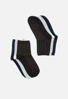 Superbalist - 3 pack cotton stripe ankle socks - multi