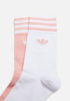 adidas Originals - Solid crew 2 pack socks - pink & white