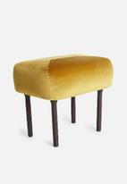 Sixth Floor - Luxe velvet ottoman - mustard