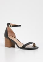 Call It Spring - Faux leather ankle strap block heel - black