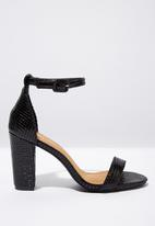 Cotton On - San Luis snakeskin heel - black