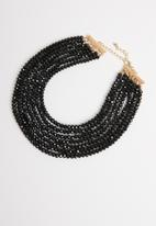 STYLE REPUBLIC - Multi-row beaded necklace-black