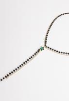 STYLE REPUBLIC - Beaded lariat necklace-black