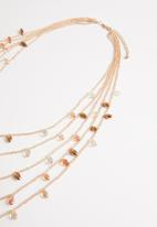 STYLE REPUBLIC - Meadow multi-stone necklace-brown/gold
