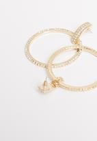 STYLE REPUBLIC - Diamante hoop earrings-gold