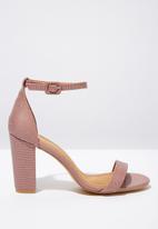 Cotton On - San Luis snakeskin faux leather heel - pink