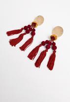 STYLE REPUBLIC - Nicole tassel earrings-red