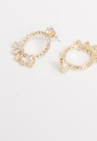 STYLE REPUBLIC - Multi-stone hoop earrings-gold