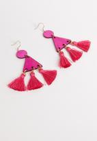 STYLE REPUBLIC - Erin tassel earrings-pink