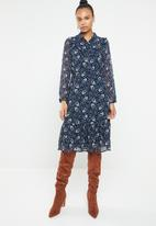 Vero Moda - Piana long sleeve calf dress - navy